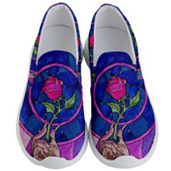 Enchanted Rose Stained Glass Men s Lightweight Slip Ons by Samandel