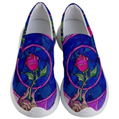 Enchanted Rose Stained Glass Women s Lightweight Slip Ons by Samandel