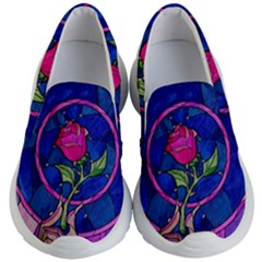 Enchanted Rose Stained Glass Kid s Lightweight Slip Ons by Samandel