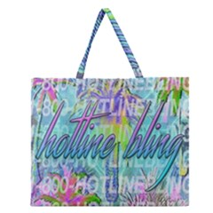 Drake 1 800 Hotline Bling Zipper Large Tote Bag by Samandel