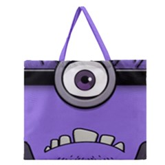 Evil Purple Zipper Large Tote Bag