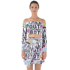 Fall Out Boy Lyric Art Off Shoulder Top With Skirt Set