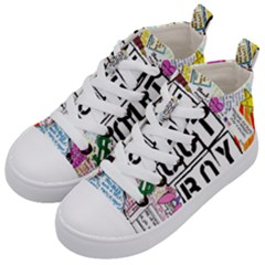 Fall Out Boy Lyric Art Kid s Mid Top Canvas Sneakers by Samandel