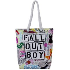Fall Out Boy Lyric Art Full Print Rope Handle Tote (small) by Samandel