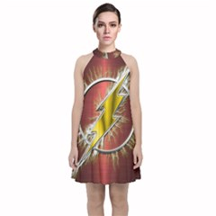 Flash Flashy Logo Velvet Halter Neckline Dress