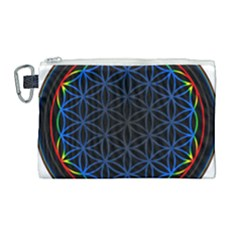 Flower Of Life Canvas Cosmetic Bag (large) by Samandel
