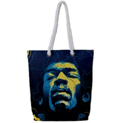 Gabz Jimi Hendrix Voodoo Child Poster Release From Dark Hall Mansion Full Print Rope Handle Tote (small) by Samandel