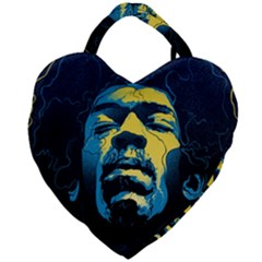 Gabz Jimi Hendrix Voodoo Child Poster Release From Dark Hall Mansion Giant Heart Shaped Tote by Samandel