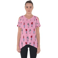 Hotline Bling Pattern Cut Out Side Drop Tee