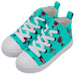 Hotline Bling Blue Background Kid s Mid Top Canvas Sneakers by Samandel