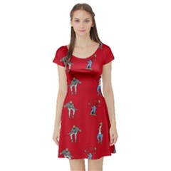 Hotline Bling Red Background Short Sleeve Skater Dress by Samandel