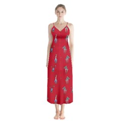 Hotline Bling Red Background Button Up Chiffon Maxi Dress