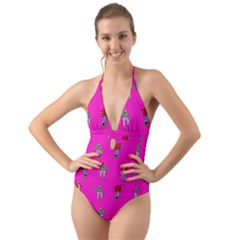 Hotline Bling Pink Background Halter Cut Out One Piece Swimsuit