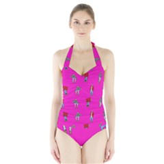 Hotline Bling Pink Background Halter Swimsuit by Samandel