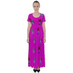 Hotline Bling Pink Background High Waist Short Sleeve Maxi Dress
