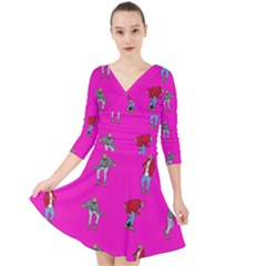 Hotline Bling Pink Background Quarter Sleeve Front Wrap Dress