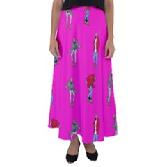 Hotline Bling Pink Background Flared Maxi Skirt