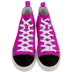 Hotline Bling Pink Background Men s Mid Top Canvas Sneakers