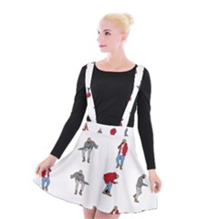 Hotline Bling White Background Suspender Skater Skirt