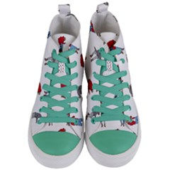 Hotline Bling White Background Women s Mid Top Canvas Sneakers