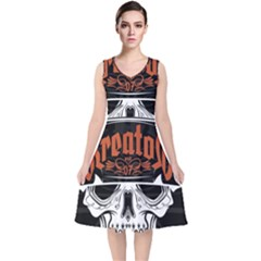 Kreator Thrash Metal Heavy Hard Rock Skull Skulls V Neck Midi Sleeveless Dress