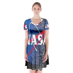 Nasa Logo Short Sleeve V Neck Flare Dress by Samandel