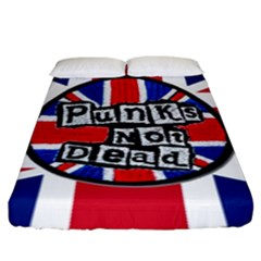 Punk Not Dead Music Rock Uk United Kingdom Flag Fitted Sheet (king Size)