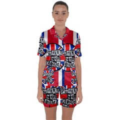 Punk Not Dead Music Rock Uk United Kingdom Flag Satin Short Sleeve Pyjamas Set