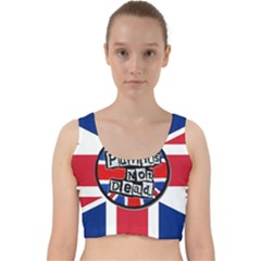 Punk Not Dead Music Rock Uk United Kingdom Flag Velvet Racer Back Crop Top