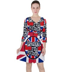 Punk Not Dead Music Rock Uk United Kingdom Flag Ruffle Dress
