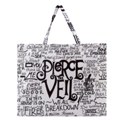Pierce The Veil Music Band Group Fabric Art Cloth Poster Zipper Large Tote Bag by Samandel