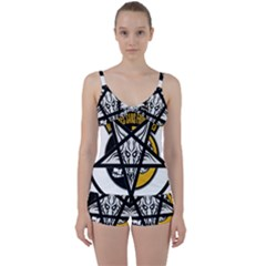Satanic Warmaster Black Metal Heavy Dark Occult Pentagran Satan Tie Front Two Piece Tankini