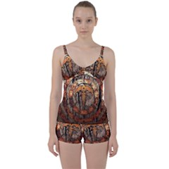 Queensryche Heavy Metal Hard Rock Bands Logo On Wood Tie Front Two Piece Tankini