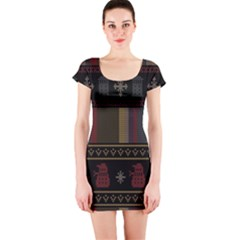 Tardis Doctor Who Ugly Holiday Short Sleeve Bodycon Dress