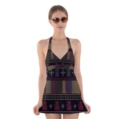 Tardis Doctor Who Ugly Holiday Halter Dress Swimsuit