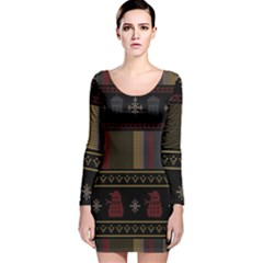 Tardis Doctor Who Ugly Holiday Long Sleeve Velvet Bodycon Dress