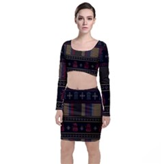 Tardis Doctor Who Ugly Holiday Long Sleeve Crop Top & Bodycon Skirt Set