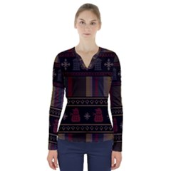 Tardis Doctor Who Ugly Holiday V-Neck Long Sleeve Top