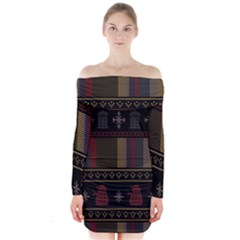 Tardis Doctor Who Ugly Holiday Long Sleeve Off Shoulder Dress