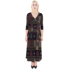 Tardis Doctor Who Ugly Holiday Quarter Sleeve Wrap Maxi Dress