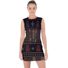 Tardis Doctor Who Ugly Holiday Lace Up Front Bodycon Dress