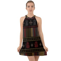 Tardis Doctor Who Ugly Holiday Halter Tie Back Chiffon Dress