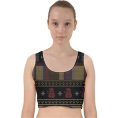 Tardis Doctor Who Ugly Holiday Velvet Racer Back Crop Top