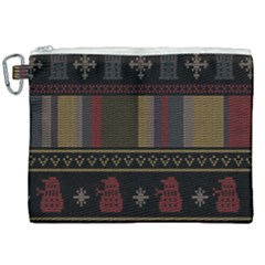 Tardis Doctor Who Ugly Holiday Canvas Cosmetic Bag (XXL)