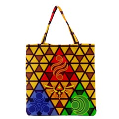 The Triforce Stained Glass Grocery Tote Bag
