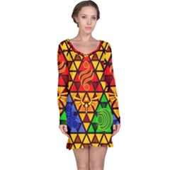 The Triforce Stained Glass Long Sleeve Nightdress by Samandel