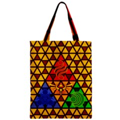 The Triforce Stained Glass Zipper Classic Tote Bag by Samandel