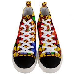 The Triforce Stained Glass Men s Mid Top Canvas Sneakers