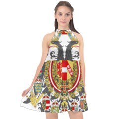 Imperial Coat Of Arms Of Austria Hungary  Halter Neckline Chiffon Dress