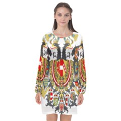 Imperial Coat Of Arms Of Austria Hungary  Long Sleeve Chiffon Shift Dress
